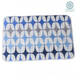 Alfombra baño moderna diseño fusion azul 45x70 cm