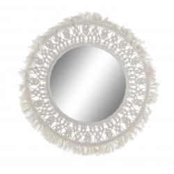 Espejo de pared macrame blanco 71 cm