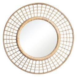 Espejo sol de bambú natural beige oriental para la entrada de 60 cm Sol Naciente