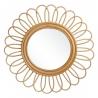 Espejo flor exótico beige de rattan de ø 60 cm