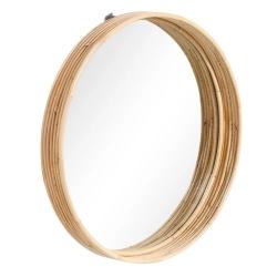 Espejo de cañas naturales de rattán, vintage de 59 cm