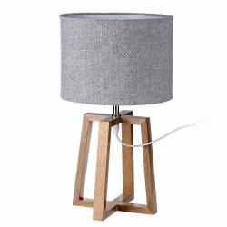 Lámpara de sobremesa nórdica marrón de madera para salón Fantasy