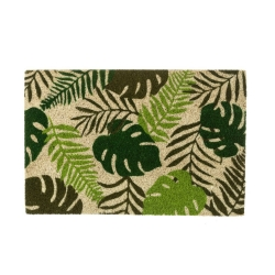 Felpudo de hojas verde de fibra de coco étnico para la entrada de 60x40 cm Sol Naciente