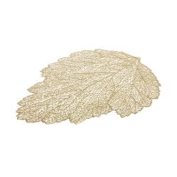 Juego de 4 Mantel de hoja individual dorado de plástico y PVC exótico de 36x47 cm