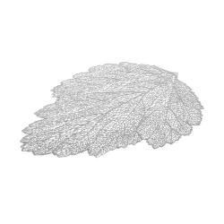 Pack 4 Mantel de hoja individual plateado de plástico y PVC exótico de 36x47 cm