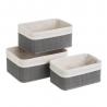 Set de 3 cestas multiusos gris de bambú para cuarto de baño Basic