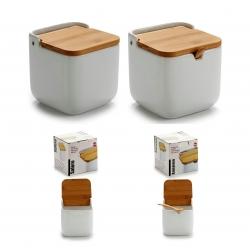 Salero y azucarero de cocina basic con tapa de bambu , azucarero cucharita incluido