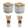 Salero y azucarero de cocina blanco basic con tapa de bambu , azucarero cucharita incluido