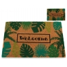Felpudo de coco original 40x60 welcome hojas tropical verde