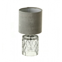 Lámpara de sobremesa base cristal gris 15x15x29 cm