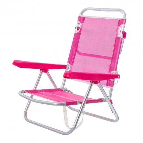 Silla con brazos de playa pop de aluminio rosa Garden