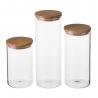 Pack 3 Tarro borosilicato cristal con tapa de bambú