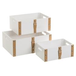 Set de 3 cajas de madera MDF multiusos con correas blanco rústico