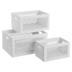 Set de 3 cajas de madera de paulonia multiusos blanco rústico