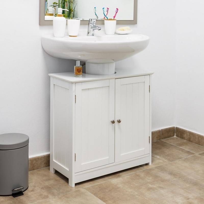 Armario bajo lavabo minimalista blanco de madera para ...