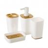 Dispensador y portacepillos de baño blanco de plástico nórdico para cuarto de baño Vitta