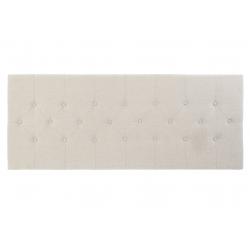 Cabecero tapizado con tela y madera en color beige, capitone, de 160x60 cm