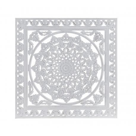 Mural decoracion tallada blanco etnico 50 cm