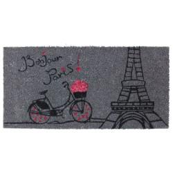 Felpudo romántico gris de fibra de coco para la entrada France 70x35cm PARIS