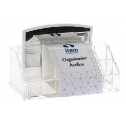 Organizador acrilico de cosméticos para baño con espejo