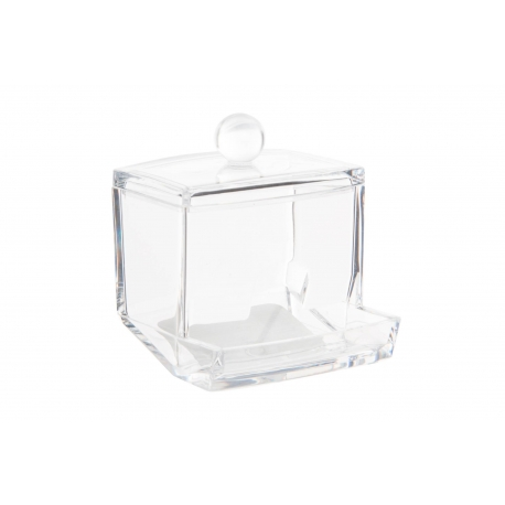 Caja acrilico para organizar bastoncillos para baño