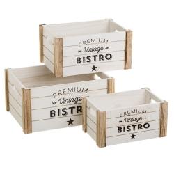 Cajas juguetero de madera natural blancas vintage para decoración Vitta