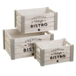 Cajas juguetero de madera natural grises vintage para decoración Factory