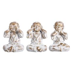 Set 3 figurita buda de suerte decoracion 22 cm (ver , oir , callar )