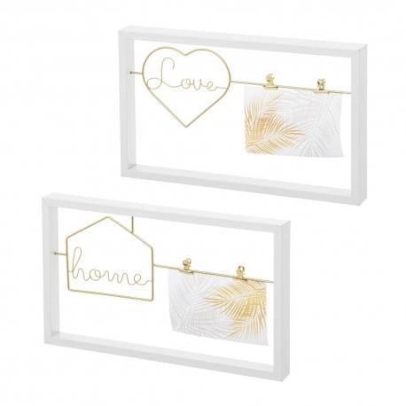 Set 2 Portafotos con pinza dorado Love y Home