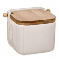 Salero blanco cerámica con tapa de bambú. 12x12x11cm