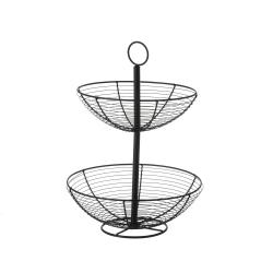 Frutero con 2 cestas redondo negro industrial de metal de ø 29x41 cm