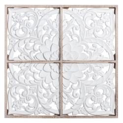 Mural de flores tallado exótico de madera blanco de 81x81 cm
