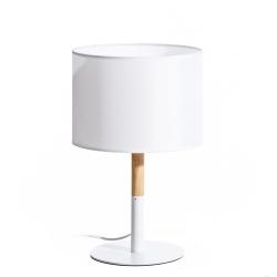 Lámpara de mesita de noche nórdica de madera y metal blanca de 40 cm