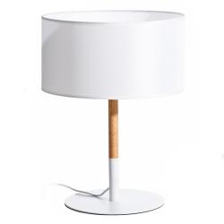 Lámpara de mesa nórdica de madera y metal blanca de 47 cm