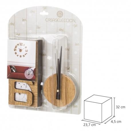 Reloj de pared eva efecto madera nordico 60x60 cm