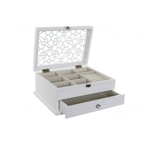 Joyero con 1 cajon de madera blanco romántico para dormitorio Vitta