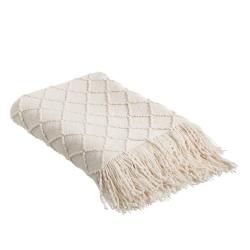 Manta beige con flecos y rombos vintage de lana acrílica de 130x170 cm