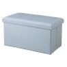 Puff de pie de cama de madera tapizado azul clásico para dormitorio Basic
