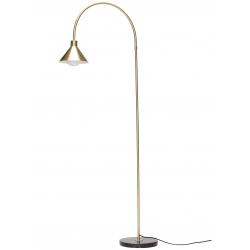 Lámpara de pie de latón dorado y base redonda de mármol negro