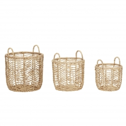 Set 3 Cesta rattan de alta calidad decorativa super grande