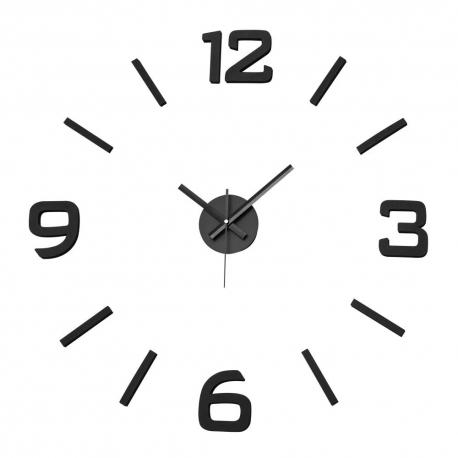 Reloj de pared adhesivo espuma color negro Wall Sticker