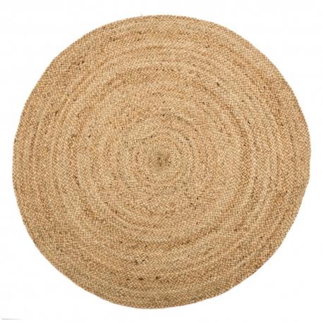 Alfombra redonda de fibra natural beige rústica para dormitorio de 120 cm France