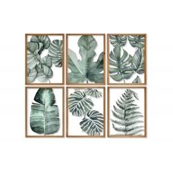 Conjunto de cuadros madera cristal hojas 38x50 cm