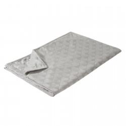 Manta sofa para pie de cama romántico gris de poliéster para dormitorio France 170 x 130 cm