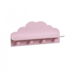 Perchero nube infantil rosa de madera moderno para dormitorio.