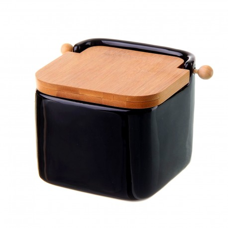 Salero negro cerámica con tapa de bambú. 12x12x11cm