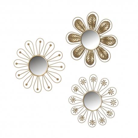 Set de 3 espejos flor luxury dorados de metal y cristal, de ø 25x1 cm