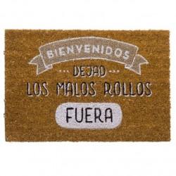 """Felpudo original de fibra de coco y base de goma """"MALOS ROLLOS"""" 40x70 cm"""