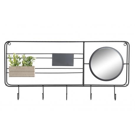 Perchero pared metal con espejo negro factory 5 corgadores