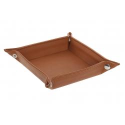 Bandeja vaciabolsillos piel color camel 18x18 cm